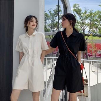 [55555SHOP] レディース リラックスワイド オールインワン ショートパンツ ゆったり 大きいサイズ 体型カバー カジュアル オールインワン ショーツ 韓国ファッション