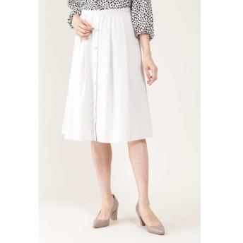 NATURAL BEAUTY / ◆[ウォッシャブル]ポリエステルツイルフロントボタンタックフレアースカート