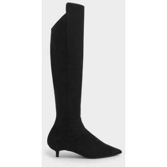 【2019 FALL 新作】キトゥンヒールニーハイブーツ / Kitten Heel Knee High Boots (Black)