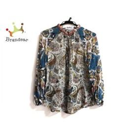 ツモリチサト 長袖シャツブラウス サイズ2 M レディース 白×ライトブルー×マルチ 新着 20190815