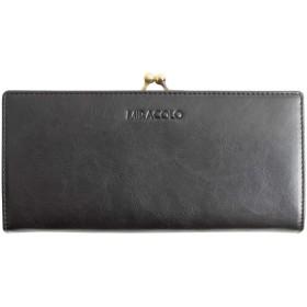 MIRACOLO 長財布 がま口 レディース 財布 PUレザー がまぐち小銭入れ カード入れ 大容量 大人 ロングウォレット 二つ折り 人気 おしゃれ ブラック