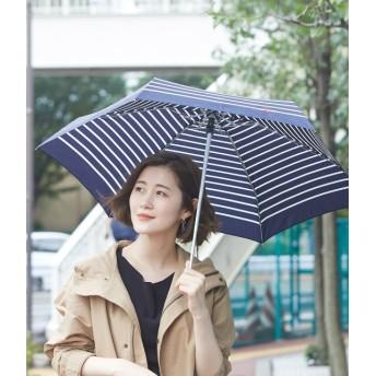 ロペピクニックパサージュ/【晴雨兼用】ハート刺繍ボーダーアンブレラ/ネイビー系/F