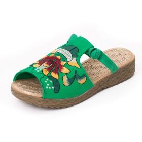 [WLXZ] 女性靴 綿麻 花柄 レディース スリッパ サンダル 刺繍入りシューズ 婦人向け 布の靴 ダンスシューズ 快適で通気性 ウォーキングシューズ 旅行布靴 フィッシュマウスブーツ (24.0cm,グリーン)