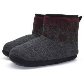 [KOI] コイ ルームシューズ メンズ あったかい ボア ブーツ スリッパ 履きやすい 丸洗いOK 自宅/会社用 (27.0 cm, ブラック·レッド)