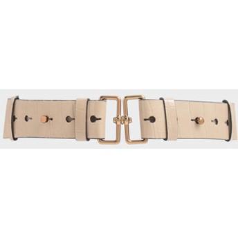 【2019 FALL 新作】クロックエフェクト ダブルバックルウェストベルト / Croc-Effect Double Buckle Waist Belt (Beige
