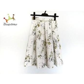 アプワイザーリッシェ スカート サイズ0 XS レディース 美品 白×グリーン×マルチ 花柄 新着 20190815