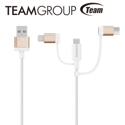 TEAM 十銓科技 MFi認證 Lightning+Micro USB+Type-C 3合1 傳輸充電線
