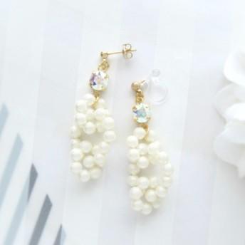 3044Simple bijou ×Pearl hoop earring/pierce(クリスタルオーロラ)