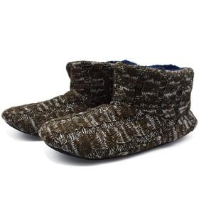 [KOI] コイ ルームシューズ メンズ あったかい ボア ブーツ スリッパ 履きやすい 丸洗いOK 自宅/会社用 (27.0 cm, ブラウン・ホワイト)