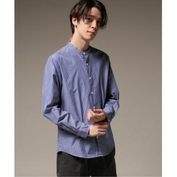 (EDIFICE/エディフィス)パターンノーカラーシャツ/メンズ ネイビー 送料無料