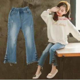 韓国子供服 ジーンズ デニムパンツ 150 140 キッズ 女の子 子ども アレア ズボン 130 ボトムス ジュニア110 ロング こども服 160cm 120