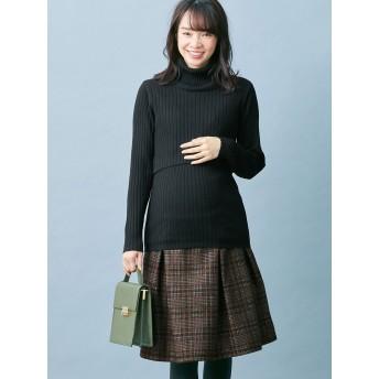 【ANGELIEBE/エンジェリーベ】【産前産後対応】チェックタックボンディングスカート ブラウン M~L