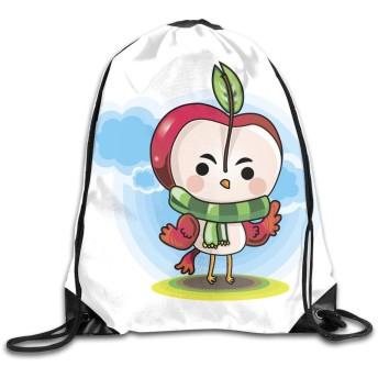 スカーフリュックサックを身に着けている漫画のキャラクターのドローストリングバッグイラスト