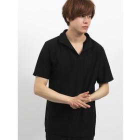 【semantic design:トップス】フクレヘリンボーン イタリアンカラー半袖ポロシャツ