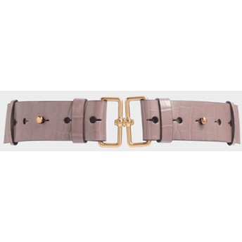 クロックエフェクト ダブルバックルウェストベルト / Croc-Effect Double Buckle Waist Belt (Mauve