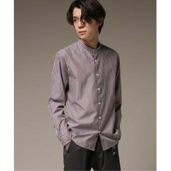 (EDIFICE/エディフィス)パターンノーカラーシャツ/メンズ ブラウン 送料無料