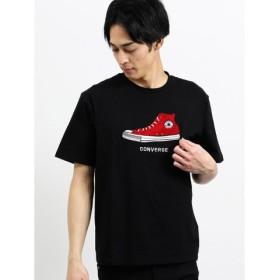 (TAKA-Q/タカキュー)【WEB限定販売】コンバース/CONVERSE シューズサガラ刺繍半袖Tシャツ/メンズ ブラック