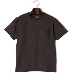 【70%OFF】ポケット切替 クルーネック 半袖Tシャツ ブラックマルチ s