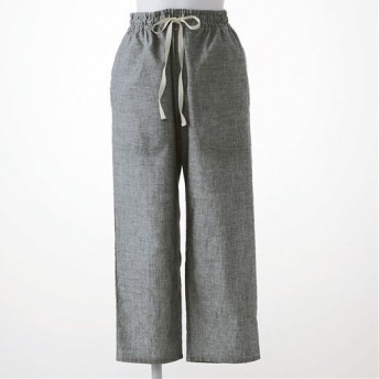 【レディース】 さらりと気持ちいい夏のコットン100%パンツ(8分丈) - セシール ■カラー:ブラック ■サイズ:L,3L,5L,M