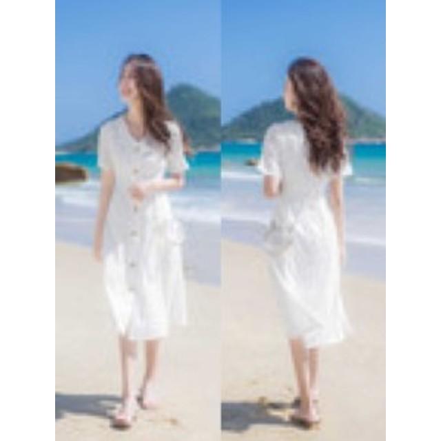 春 夏 レディース ワンピース 小さいサイズ シャツブラウス 白 ホワイト 半袖 ロング丈 ミディアム丈 リゾート 海 プール かわいい おし