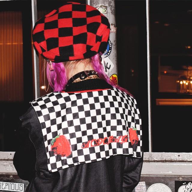 パーカー - ACDCRAG チェックストロベリー セーラー 原宿系 ファッション パーカー セーラーカラー パンク ロック V系 バンギャ レディース 派手個性派 個性的 かわいい チェック フラッグチェック いちご ストロベリー 赤