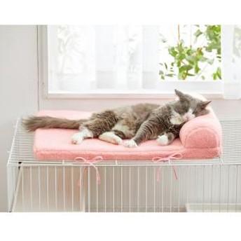 ケージ天井ボアベッド 枕付き ベージュ
