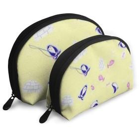かわいいペンギン 収納袋 メイクポーチ シンプルな 小さな道具袋 ミニ 財布モ モバイルアクセサリー 収納袋 大容量 多機能 トラベルバッグ