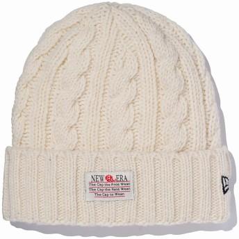 (ニューエラ) NEW ERA ニット帽 カフ OLD LOGO PATCH LOW GAUGE WOOL BLEND アイボリー FREE