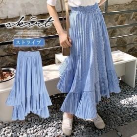 ロング丈スカート ストライプ柄 切り替え 2層フリル プリーツ ゴムウエスト ブルー 夏物 おしゃれ 可愛い レディース ハイウエスト 韓国ファッション フリーサイズ