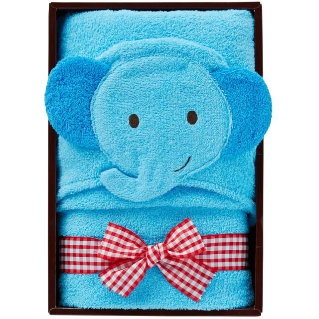 ミキハウス ■フード付きバスタオル【ブルー(ぞう)】