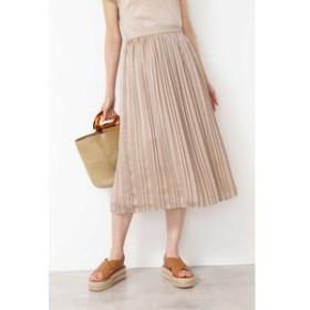 【NATURAL BEAUTY BASIC:スカート】ランダムプリーツサテンスカート