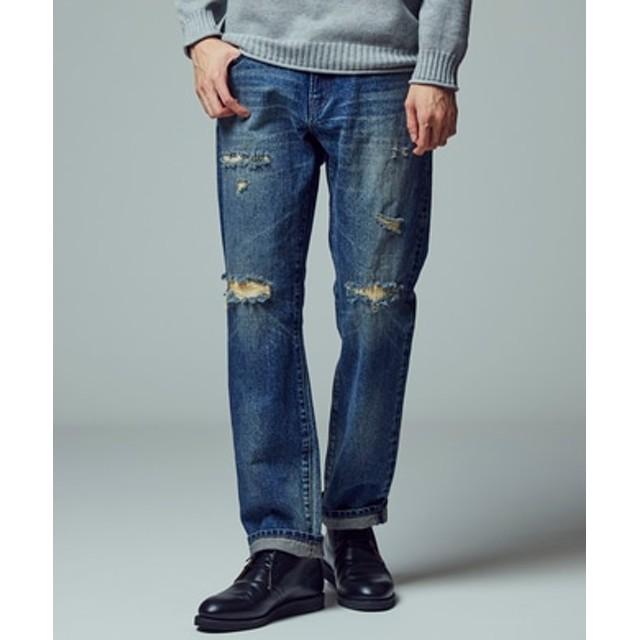 BACK NUMBER 「和紙デニム」ダメージデニムパンツ メンズ 中濃加工色
