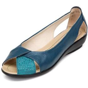 [MAMRE] レディース サンダル パンプス オープントゥ ウェッジソール シンプル おしゃれ 美脚 軽量 通気性 柔らかい 安定感 婦人靴 22.5cm 歩きやすい ブルー 疲れない コンフォート 柔軟 疲れない 痛くない マタニティ 幅広 大きいサイズ