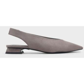【2019 FALL 新作】Vカットミニスクエアトゥスリングバックヒール / V-Cut Mini Square Toe Slingback Heels (Taupe)