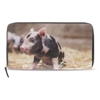 長財布 レディース 大容量 おしゃれ かわいい 財布 本革 赤ちゃん動物豚 おもしろ 可愛い ウォレット ファスナー メンズ 女性 男女兼用 カード収納 小銭入れ プレゼント