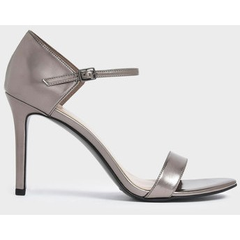 【2019 FALL 新作】パテントストラッピー スティレットヒール / Patent Strappy Stiletto Heels (Pewter)