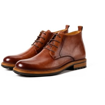 ハンドメイド子牛革靴ハラコレザーレースアップショートブーツ筒丈10.5cm手作りメンズシューズ ブラウン送料無料