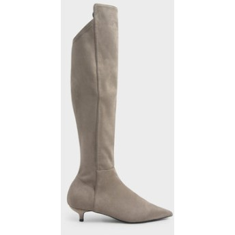 【2019 FALL 新作】キトゥンヒールニーハイブーツ / Kitten Heel Knee High Boots (Taupe)