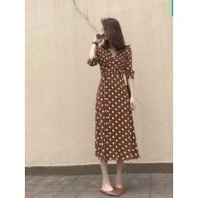 夏 秋 レディース ワンピース 大きいサイズ 2色 七分袖 ロング丈 ドット柄 ロングワンピース おしゃれ かわいい 韓国 きれいめ プチプ