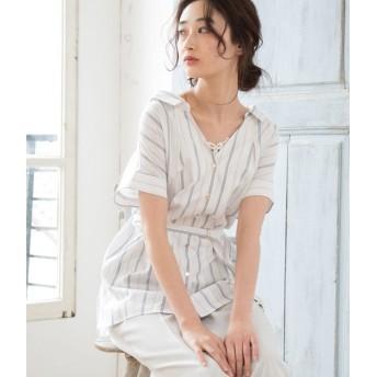 ビス/【EASY CARE】ベルト付きシャツブラウス/キナリ/L