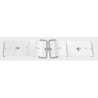 【2019 FALL 新作】クロックエフェクト ダブルバックルウェストベルト / Croc-Effect Double Buckle Waist Belt (White