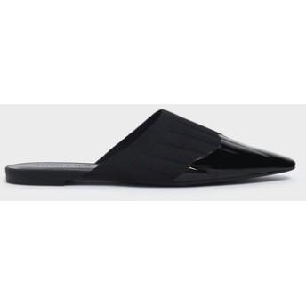 【2019 FALL 新作】ニット ポインテッドトゥミュール / Knitted Pointed Toe Mules (Black)