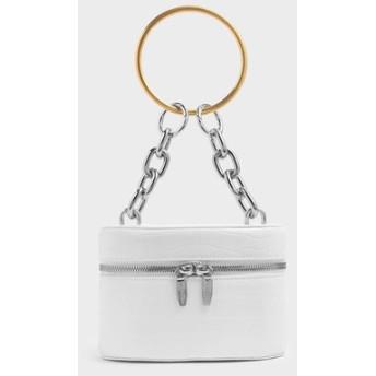【2019 FALL 新作】パテントメタル トップハンドルジップアラウンドバッグ / Patent Metal Top Handle Zip Around Bag (W