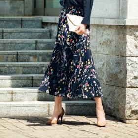 49%OFF【レディース】 ウエストらくらくスカート(選べる2レングス) ■カラー:ネイビー花柄 ■サイズ:4L(総丈68)