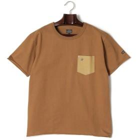 【70%OFF】ポケット切替 クルーネック 半袖Tシャツ カーキ m