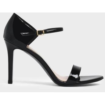 【2019 FALL 新作】パテントストラッピー スティレットヒール / Patent Strappy Stiletto Heels (Black)