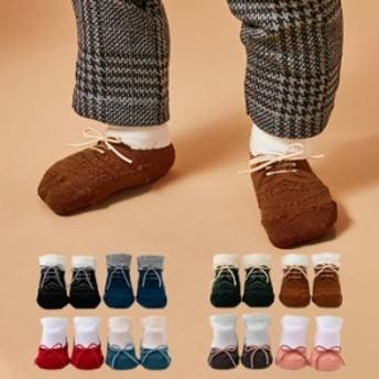 【日本製】【Leapepe】靴風 ソックス 2Pセット ベビー 赤ちゃん 靴下 二足セット 男の子 女の子 ギフト 出産祝い 贈り物 おしゃれ かわい