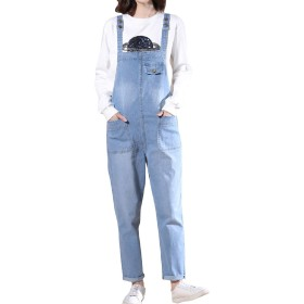 Nicellyer 女性のスリムフィットポケットプラスサイズは、カウボーイビブオーバーオールを緩和 Light Blue 4XL