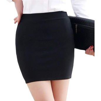 BSCOOL スカートタイトレディース着痩せペンシルスカートOLスリム大きいサイズミニスカートファッションハイウエスト通勤オフィススーツ無地膝上ショート(E黒)