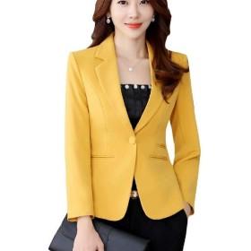 cheelot 女性のプラスサイズのレギュラーワンボタンクラシックオフィス仕事コート Yellow XL